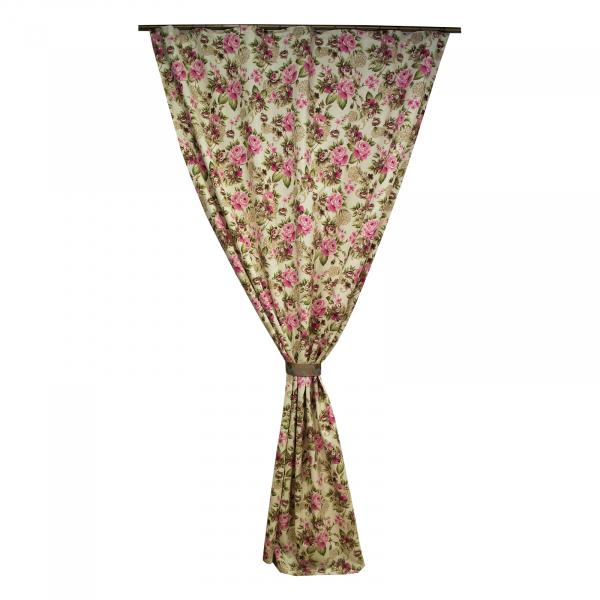 Draperie Velaria floral roz/gri, diverse dimensiuni 0