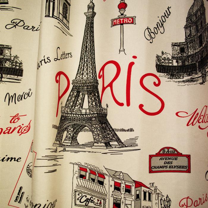 Draperie Velaria city Paris rosu 0