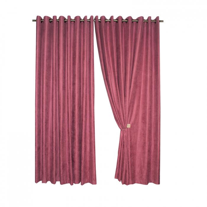 Set draperii Velaria roz catifelat, 2*230x225 cm 0