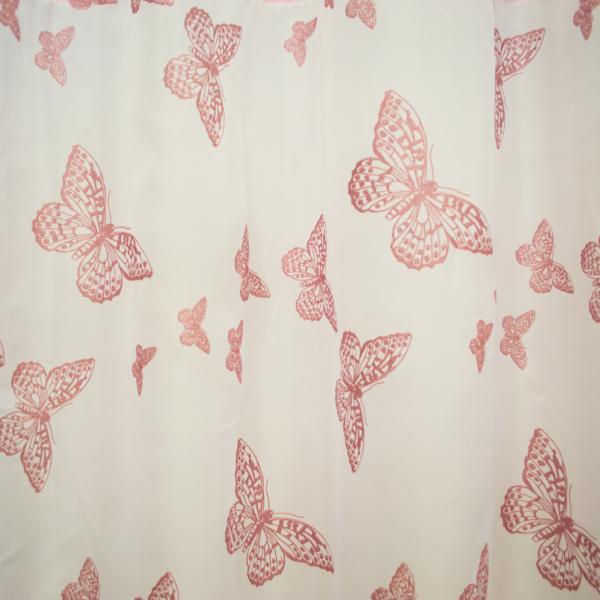 Perdea Velaria voal alb cu fluturi roz 1