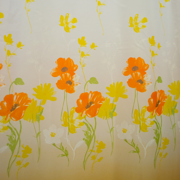 Perdea supervoal orange flowers 210x245 cm 1