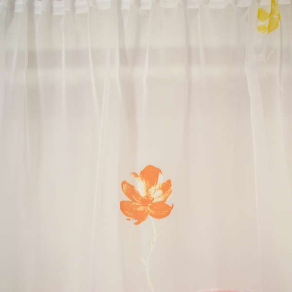 Perdea voal alb cu flori portocalii, 260x185 cm 1