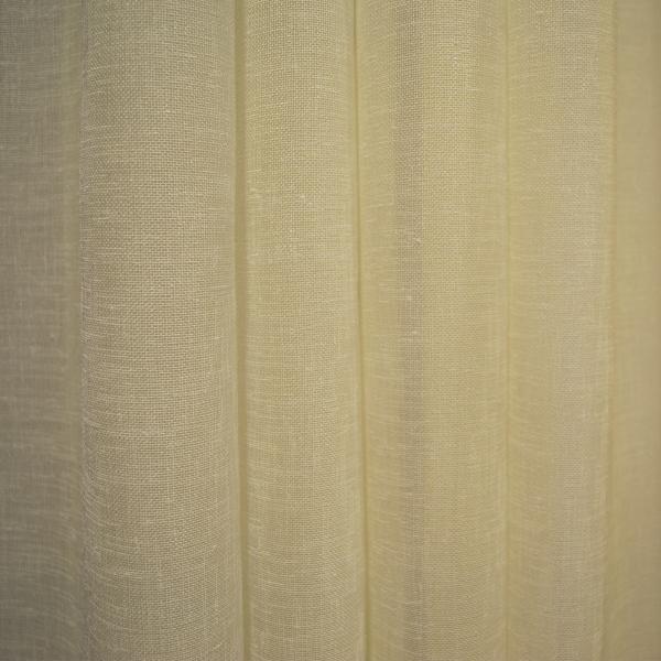 Perdea din in ivoire cu banda verde, 400x165 cm 1