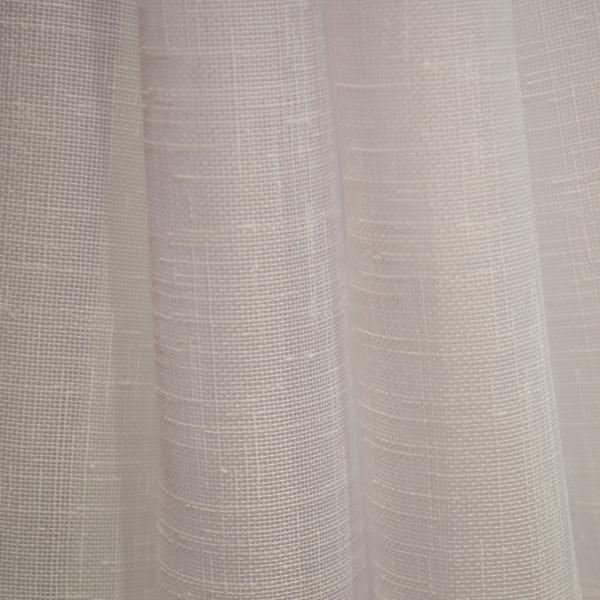 Perdea din in alb cu imprimeu geometric mov, 245x165 cm 2