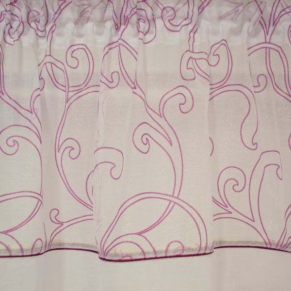 Perdea din in alb cu imprimeu geometric mov, 245x165 cm 1