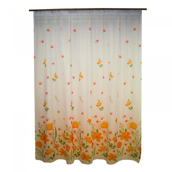 Perdea supervoal flori de campie portocalii, 220x245 cm 0