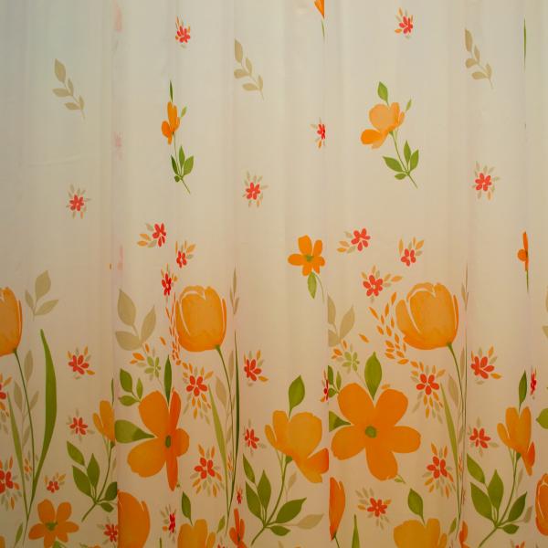 Perdea supervoal flori de campie portocalii, 220x245 cm 1
