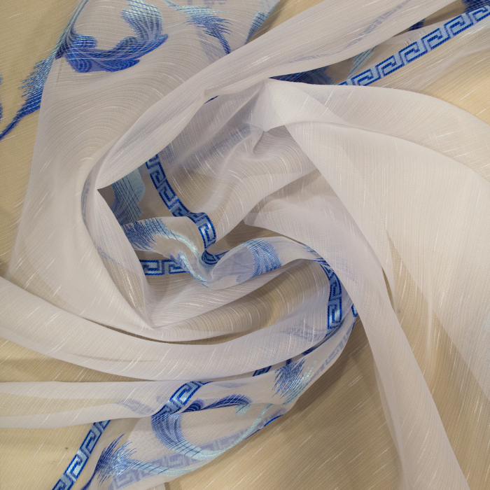 Perdea Velaria sable cu model albastru, 140x245 cm 1