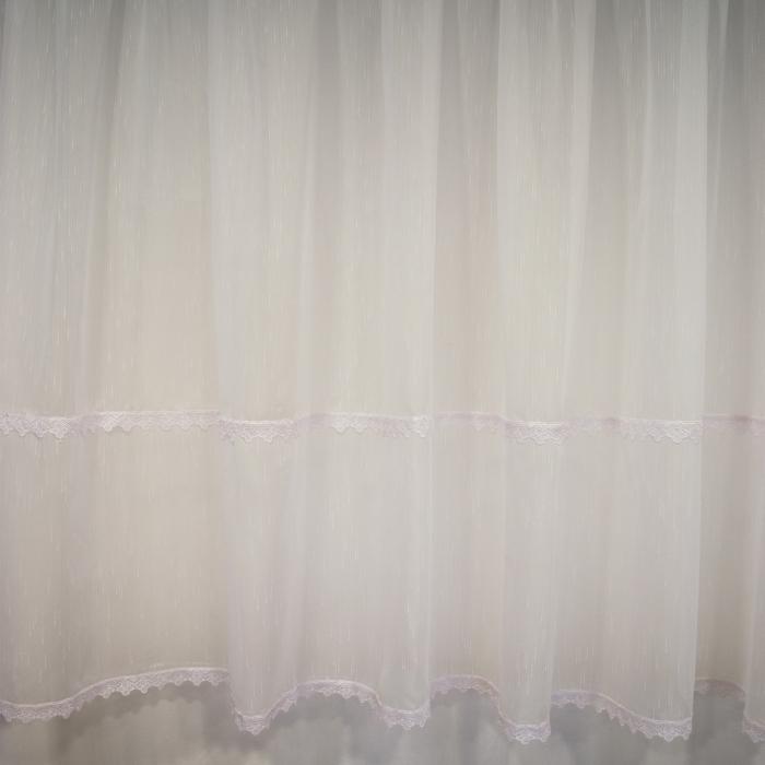 Perdea Velaria sable alb cu dantela, 340x140 cm 1