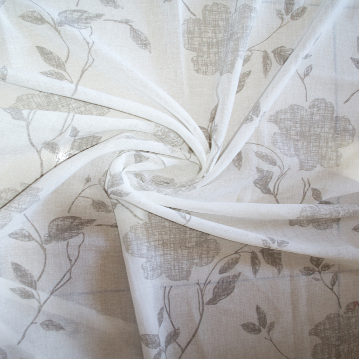Perdea Velaria inisor alb cu flori gri, 110x180 cm 1