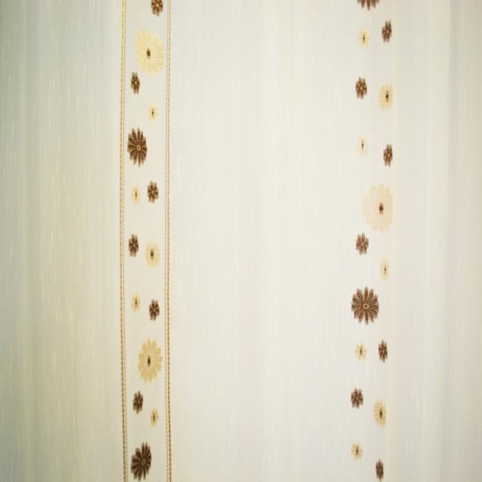 Perdea Velaria crem cu flori maro, 300x245 cm 2