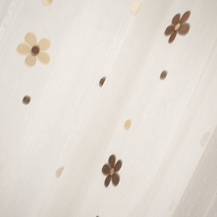Perdea Velaria daisy alba cu flori wenge [1]