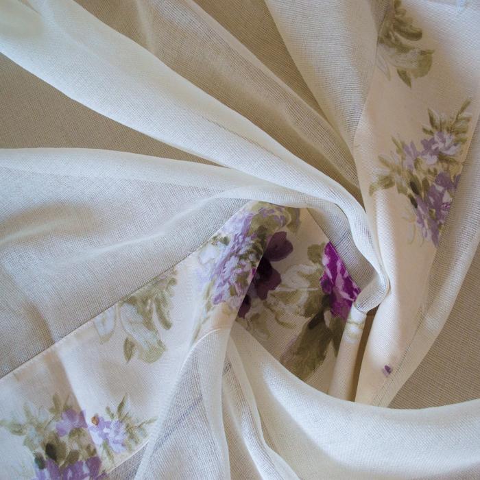 Perdea Velaria in rar ivoire cu flori mov, 350x150 cm 1