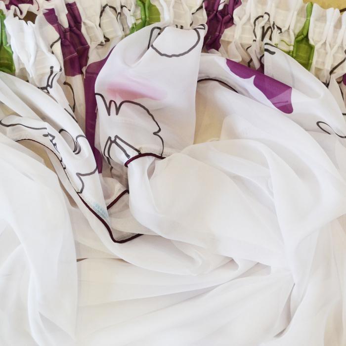 Perdea Velaria voal alb cu fluturi multicolori, 185x180 cm [1]