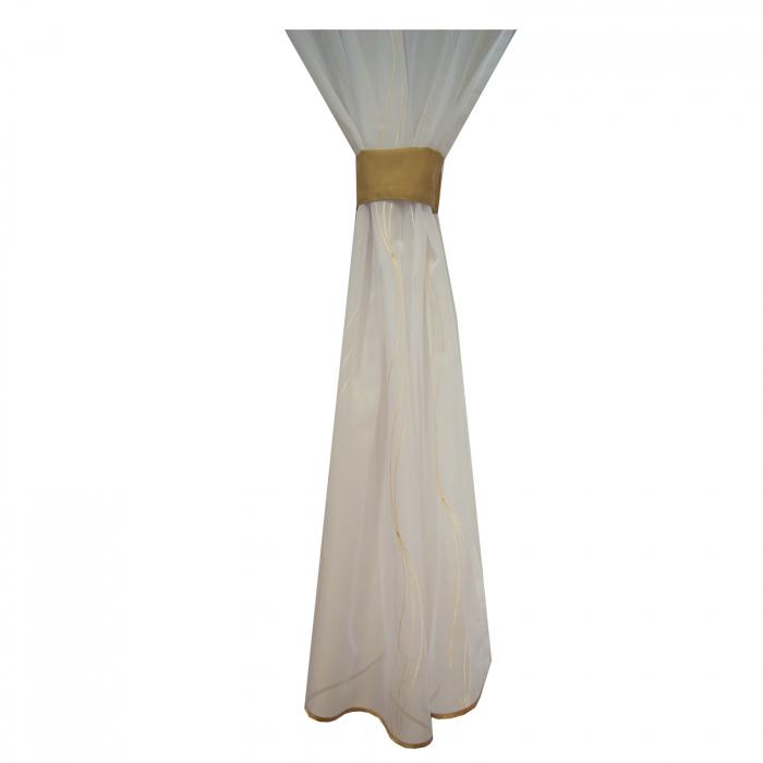 Perdea Velaria de bucatarie voal alb cu imprimeu geometric, 190x160 cm 3