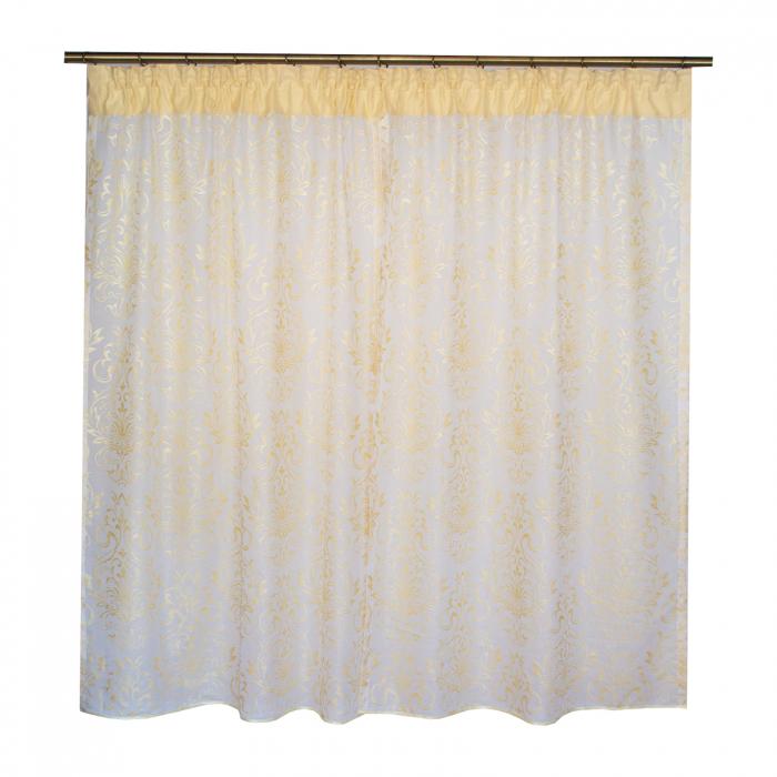 Perdea Velaria in alb cu imprimeu baroc auriu, 180x150 cm [3]