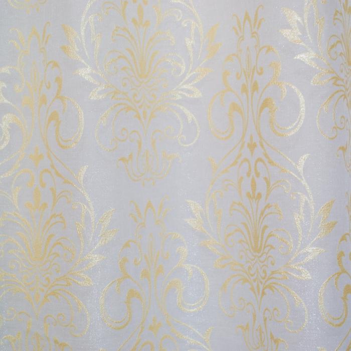 Perdea Velaria in alb cu imprimeu baroc auriu, 180x150 cm [1]