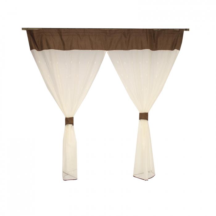 Perdea Velaria de bucatarie voal ivoire cu model geometric, 170x150 cm 2