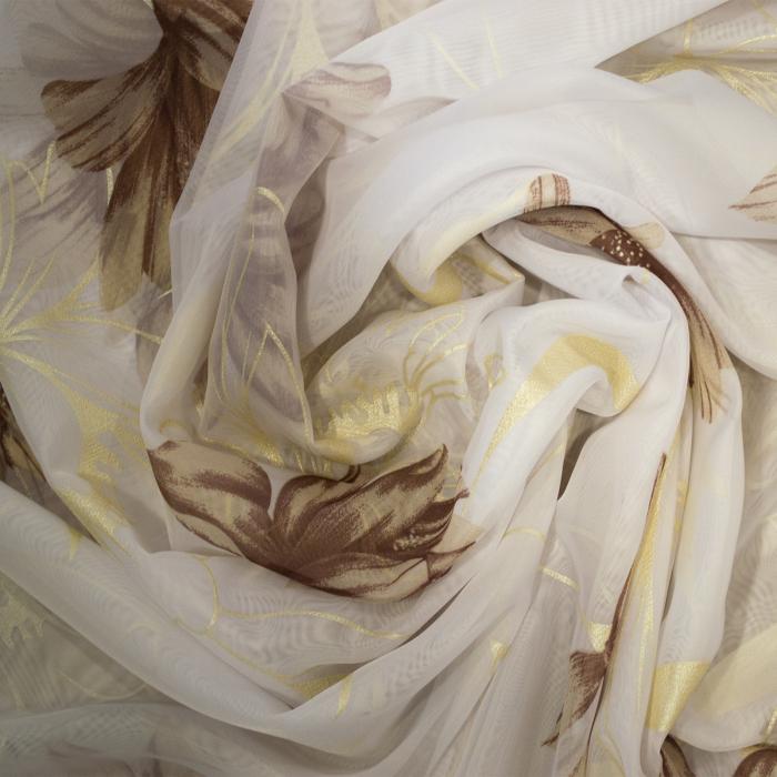Perdea Velaria flori pictate maro, 370x195 cm 2