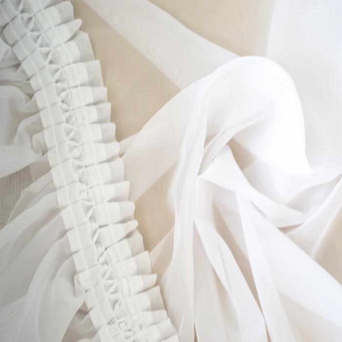 Perdea Velaria voal alb cu flori pictate maro, 370x175 cm [3]