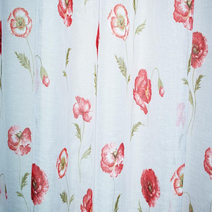 Perdea Velaria in alb cu bordura maci rosii 2