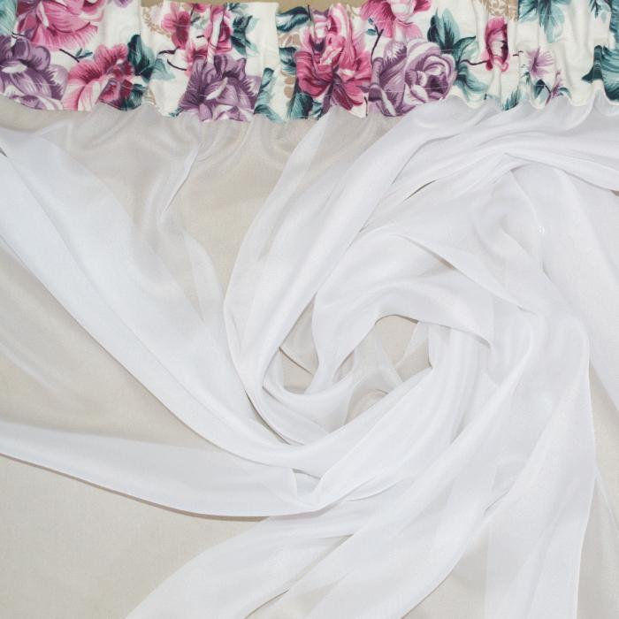 Perdea Velaria crep alb cu flori, 190x165 cm 1