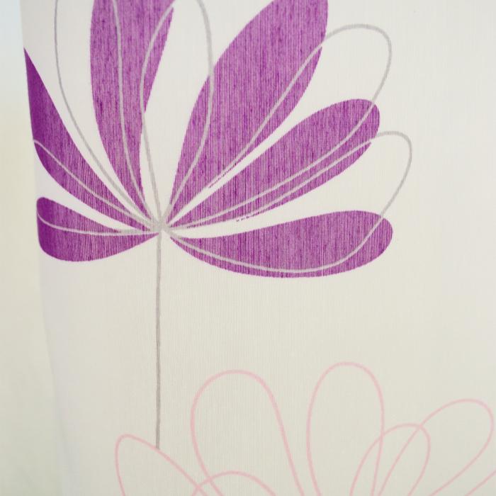 Perdea Velaria alba cu flori mov 1