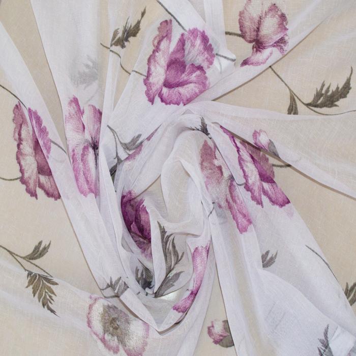 Perdea Velaria in alb cu maci mov, 140x140 cm 1