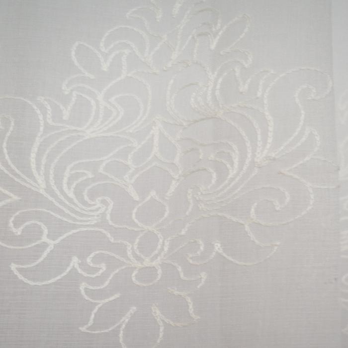 Perdea Velaria in alb cu imprimeu baroc brodat, 335x140 cm 1