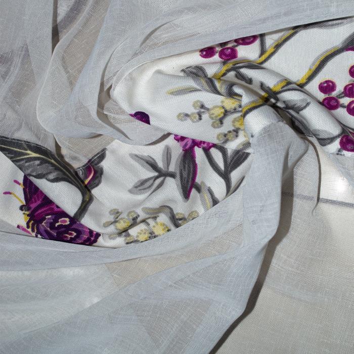 Perdea Velaria in ivory cu fluturi mov, 215x175 cm 1