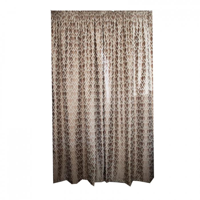 Set draperii Velaria tafta romburi beige, 2*140x255 cm 0
