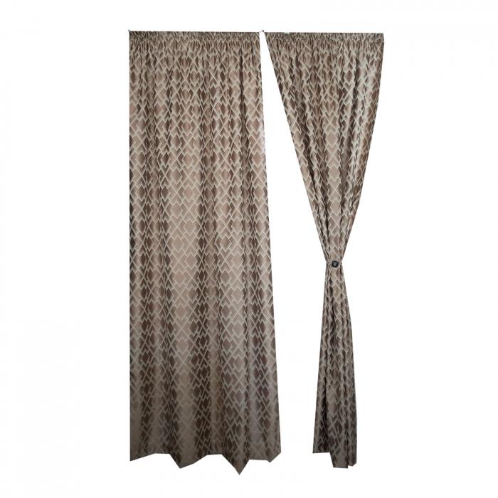 Set draperii Velaria tafta romburi beige, 2*140x255 cm 3