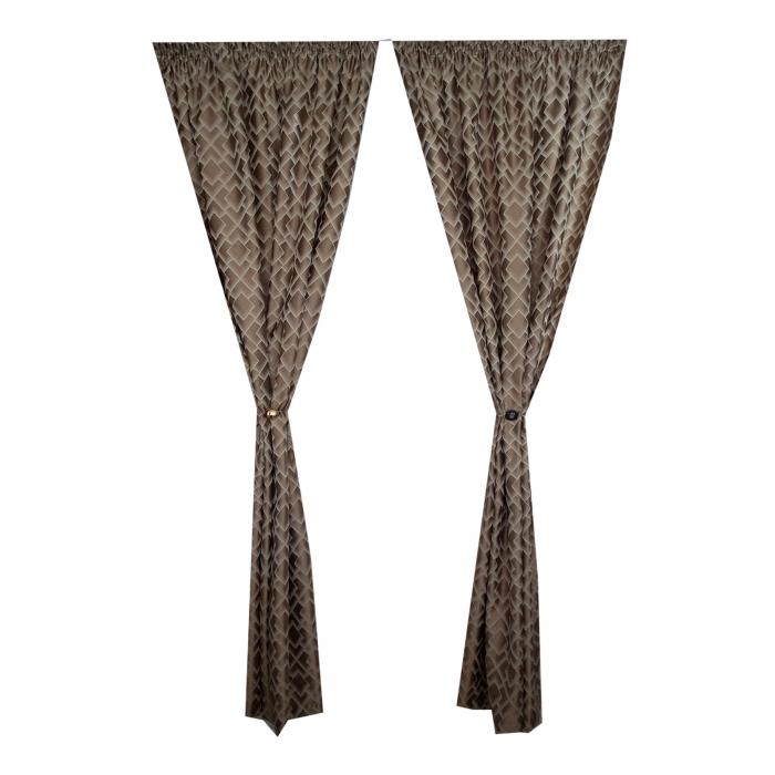 Set draperii Velaria tafta romburi beige, 2*140x255 cm 2