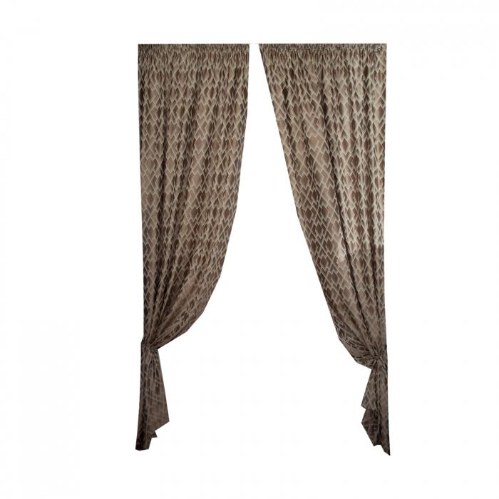 Set draperii Velaria tafta romburi beige, 2*140x255 cm 1