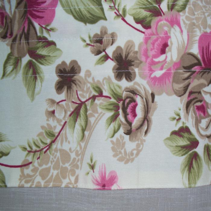 Perdea Velaria in alb cu trandafiri roz, 140x160 cm 1