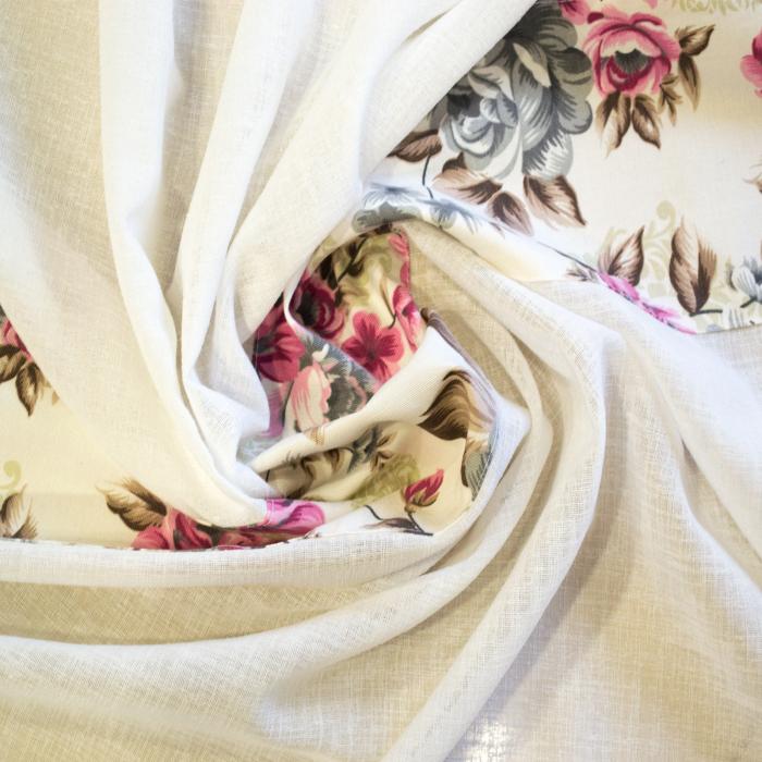 Perdea Velaria in ivoire gros cu imprimeu floral, 245x145 cm 1