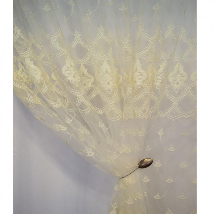Perdea Velaria tul ivoire brodat, 275x245 cm 3