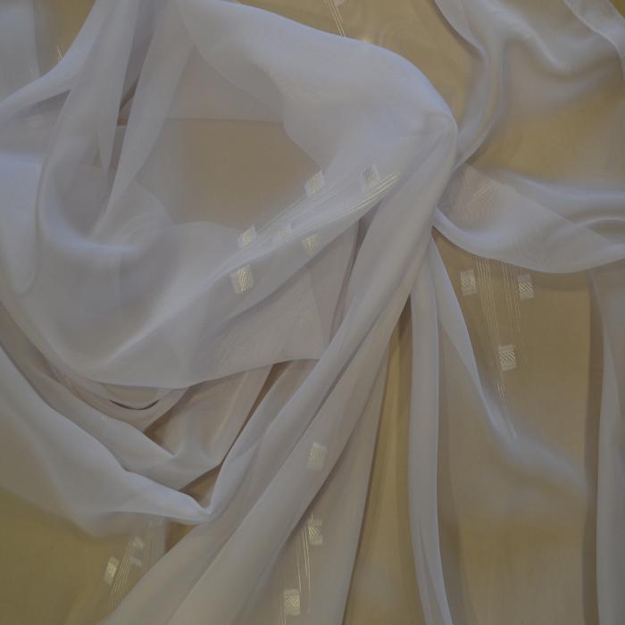 Perdea Velaria voal alb cu trei patrate, 125x245 cm 0