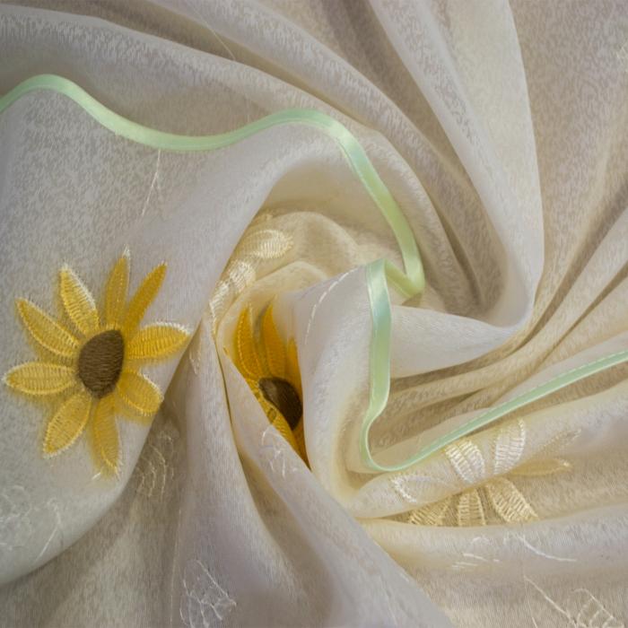 Perdea Velaria de bucatarie, crem cu floarea soarelui, 200x140 cm 1
