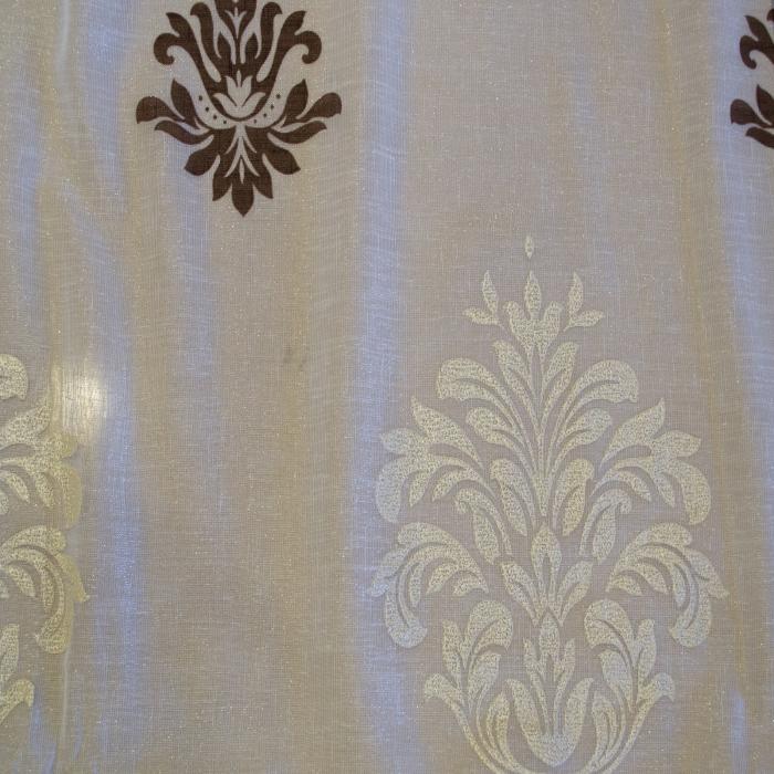Perdea Velaria in ivoire lucios cu imprimeu baroc, 300x190 cm 1