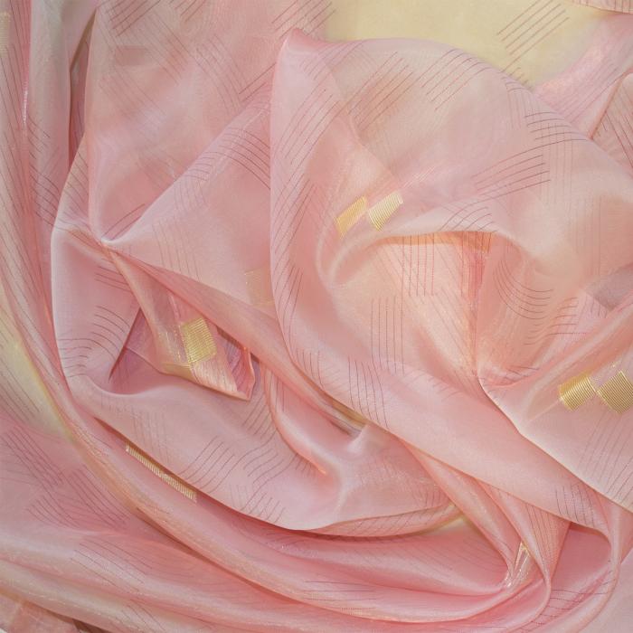 Perdea Velaria organza roz cu auriu, 335x245 cm 1