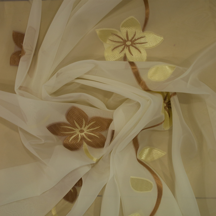 Perdea Velaria voal cu floare maro, 290x245 cm 2