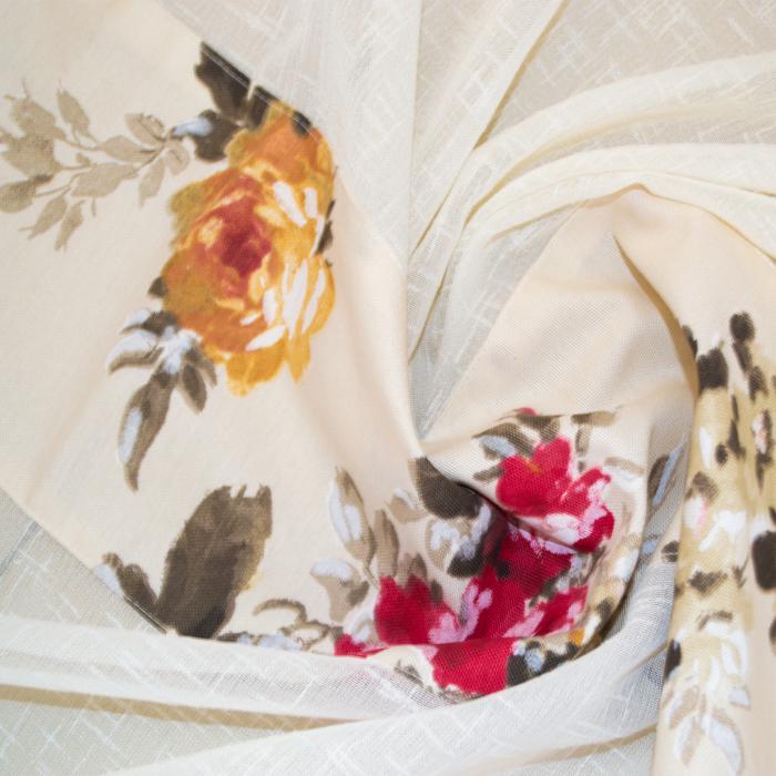 Perdea Velaria in gros texturat cu flori, 350x150 cm 1