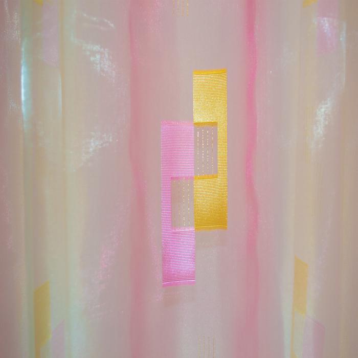 Perdea Velaria voal roz cu forme geometrice, 320x245 cm 2