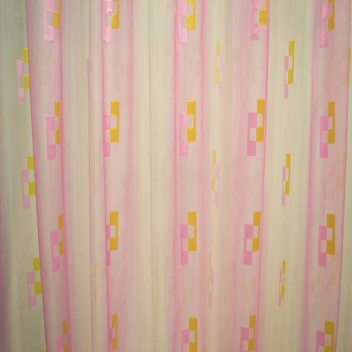 Perdea Velaria voal roz cu forme geometrice, 320x245 cm 1