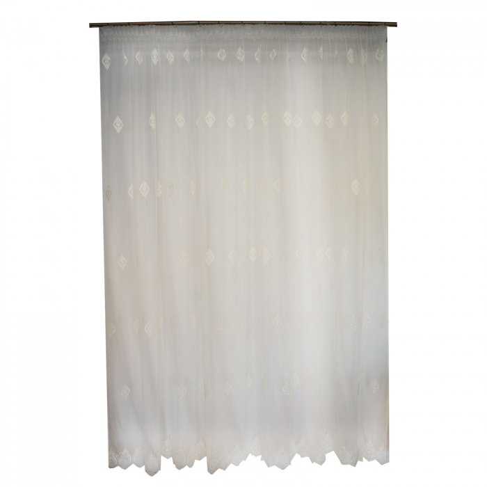 Perdea Velaria tiul alb cu motiv baroc brodat, 285x245 cm [0]