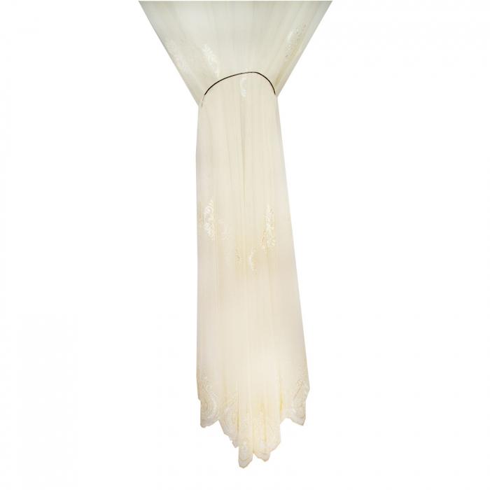Perdea Velaria tiul alb cu motiv baroc brodat, 285x245 cm [2]