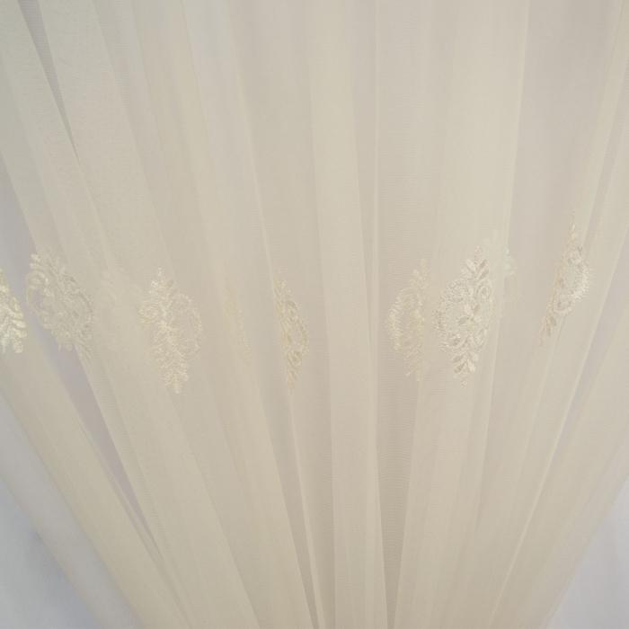Perdea Velaria tiul alb cu motiv baroc brodat, 285x245 cm [1]