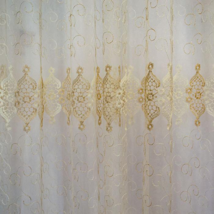 Perdea Velaria tiul auriu cu imprimeu baroc, 450x245 cm [2]