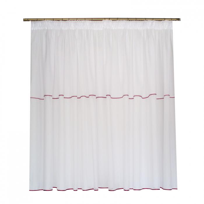 Perdea Velaria in cristal alb cu fir rosu 0